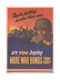 Center Warshaw Collection U.S. Treasury Poster. Are YOU buying MORE WAR BONDS THAN EVER Giclee Print