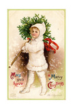 Christmas Card with Child Holding a Wreath, Beatrice Litzinger Collection Giclee Print