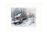 Greeting Card - Carriages Winter Scene with House and Water Wheel Giclee Print