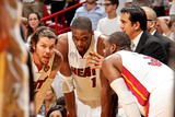 Miami, FL - JUNE 6 Head Coach Erik Spoelstra of the Miami Heat leads players Mike Miller, Chris Bos Photographic Print