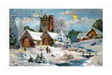 Christmas Card, Church in Winter Scene, Beatrice Litzinger Collection Lámina giclée
