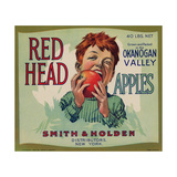Fruit Crate Labels: Red Head Apples; Distributed by Smith and Holden, New York Lámina giclée