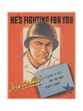 Center Warshaw Collection, HE'S FIGHTING FOR YOU. A STAMP A DAY... FOR THE MAN WHO'S AWAY Giclee Print