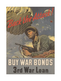 Center Warshaw Collection, Treasury Poster. Back the Attack! BUY WAR BONDS Giclee Print