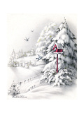 Greeting Card - Winter Scene with Red Birdhouse, National Museum of American History Giclee Print