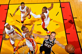 Miami, FL - JUNE 9 Manu Ginobili, Chris Bosh, LeBron James, Dwyane Wade and Udonis Haslem Photographic Print