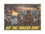 Center Warshaw Collection Treasury Poster. BUY THAT INVASION BOND! Giclee Print