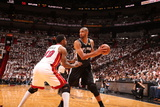 Miami, FL - JUNE 9 Udonis Haslem and Tim Duncan Photographic Print