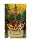 Poster for International Exposition in Philadelphia, Displaying Liberty Bell and Independence Hall Giclee Print