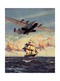 Painting og a Plane Flying near a Ship Giclee Print