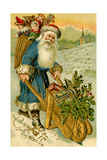 Father Christmas Dressed in Blue Carrying a Basket of Toys, Beatrice Litzinger Collection Giclee Print