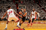 Miami, FL - JUNE 9 Gary Neal, Norris Cole and Dwyane Wade Photographic Print