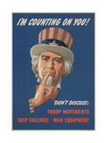 Center Warshaw Collection, Office of War Information Poster. I'M COUNTING ON YOU! DON'T DISCUSS… Giclee Print