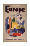 Fly by Clipper: Europe; Pan American World Airways Giclee Print