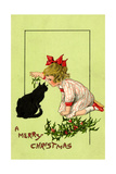 Young Girl with Red Bow and Shoes Holding Mistletoe Over a Black Cat, Beatrice Litzinger Collection Lámina giclée