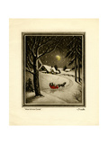 Two People in Horsedrawn Sleigh on Snowy Landscape Giclee Print