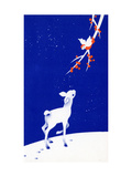 Christmas Card with Deer and a Bird at Night, National Museum of American History Giclee Print