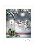 Greeting Card - Candles Season's Greetings - Winter Scene with Candle in the Window Lámina giclée