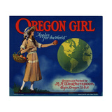 "Fruit Crate Labels: Oregon Girl ""Apples for the World."" Grown and Packed by H.H. Weatherspoon Giclee Print"