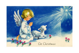 Christmas Angels Kneeling Praying Under the Christmas Star Lámina giclée