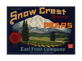 Fruit Crate Labels: Snow Crest Brand Pears; Earl Fruit Company Giclee Print