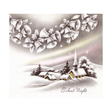 Greeting Card - Churches, Silent Night, Snow Covered Church with Bells on top of the Card Giclee Print