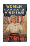 Center Warshaw Collection, Liberty Loan Poster Encouraging Women to Buy U.S. Government Bonds Giclee Print
