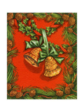 Greeting Card - Gold bells with Green Ribbons and Pine Cones, National Museum of American History Giclee Print