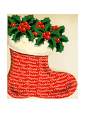 Christmas Stocking with Holly and Berries - Greeting Card, National Museum of American History Giclee Print