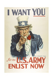 Military and War Posters: I Want YOU for the U.S. Army. James Montgomery Flagg Giclée-tryk