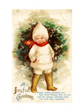 A Joyful Christmas Postcard; Child Dressed in White Jacket and Hood, Beatrice Litzinger Collection Giclee Print