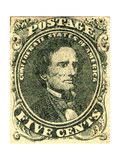 National Postal Museum: 5-Cent Green Jefferson Davis Confederate Stamp Giclee Print