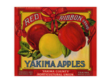 Fruit Crate Labels: Red Ribbon Brand Yakima Apples; Yakima County Horticultural Union Giclee Print