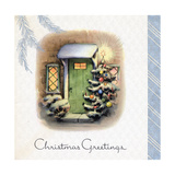 Greeting Card - Christmas Greetings, Green Door with Decorated Tree Giclee Print