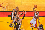 Miami, FL - JUNE 9 LeBron James, Kawhi Leonard and Tiago Splitter Photographic Print