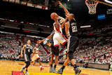 Miami, FL - JUNE 6 Dwyane Wade and Tim Duncan Photographic Print