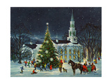Greeting Card - White Church with Large Tree and People Surrounding ジクレープリント