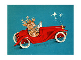 Reindeer Couple Taking a Ride in a Red Coupe Convertable, National Museum of American History Giclee Print