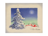 Greeting Card - White Christmas, White Tree with Red Village, National Museum of American History Giclee Print