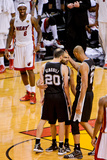 Miami, FL - JUNE 6 Manu Ginobili, Tony Parker and Tim Duncan Photographic Print