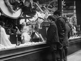 Three Boys Mesmerized by Xmas Toys in Shop Window in New York City, Ca. 1915 Posters