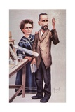 Caricature of Pierre and Marie Sklodowska Curie, Won 1903 Nobel Prize in Physics Posters