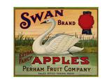 Fruit Crate Labels: Swan Brand Extra Fancy Apples; Perham Fruit Company Reproduction procédé giclée