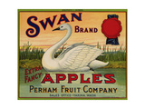 Fruit Crate Labels: Swan Brand Extra Fancy Apples; Perham Fruit Company Giclee Print
