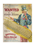 """Diamond Joe's"" Big White Corn from Ratekin's Seed House Giclee Print"
