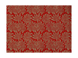 Modern Vogue Decorated Gift Wrapping Papers, Red Background with Gold Glittery Poinsettias Giclee Print