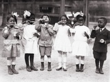 African American First Graders Learn to Brush their Teeth in School, 1910 Photo