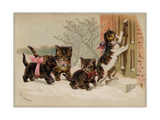 The Arrival Card with Four Kittens Approaching a Door, National Museum of American History Giclee Print