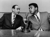 Muhammad Ali and Howard Cosell on WaBC Radio in 1965 Photographie
