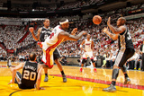 Miami, FL - JUNE 6 LeBron James and Boris Diaw Photographic Print